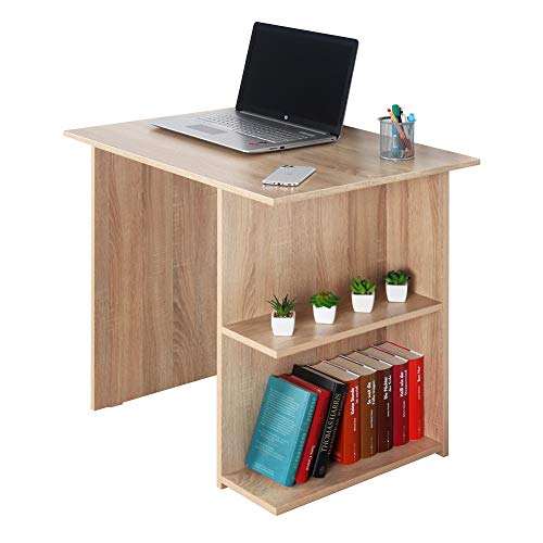 RICOO WM089-ES Escritorio pequeño 82x76x60cm Mesa Ordenador Organizador Oficina Muebles de hogar Buro PC Gaming Secreter Madera Roble marrón