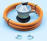 Kit Recambio Butano | Regulador + Manguera + Abrazaderas | Normativa Europea AENOR (1,5 Metros)