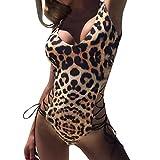 Geilisungren Leopardo Bañadores Honda Cuello Halter impresión, Triángulo Bikinis/Swimsuit Baño/Bikini Push up Acolchado/Traje de baño una Pieza/Traje De Baño Mujer/Bikini Set Ropa de Playa