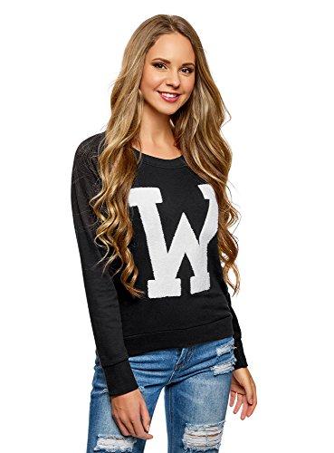 oodji Ultra Damen Sweatshirt mit Großem Print und Rundem Ausschnitt, Schwarz, DE 38 / EU 40 / M