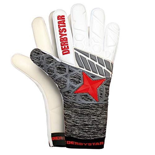Derbystar Kinder Hyper Pro I Torwarthandschuhe, Weiss grau rot, 7(XL)