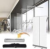 Pancarta protectora transparente con rodillo para dominar, divisor de plástico transparente, transparente para restaurantes, peluquerías, gimnasios (tamaño 120 x 200 cm)