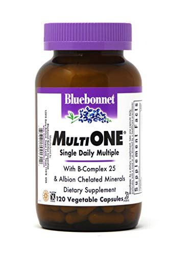 Bluebonnet Nutrition Multi One (With Iron) Vegetable Capsules, Complete Full Spectrum Multiple Vitamin Supplement, B Vitamins, Gluten free, milk free, kosher, 120 Vegetable Capsules, 4 Month Supply