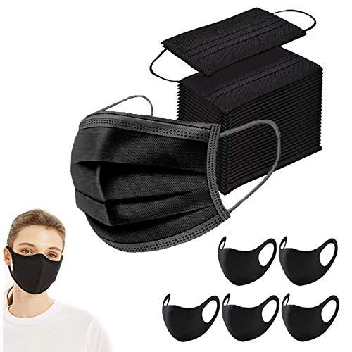 100 Stück Mundschutz Maske Schutzmaske + 5 Stück schwarz Mund und Nasenschutz Waschbar Staubschutzmaske Wiederverwendbar Atmungsaktiv Mundschutz Winddicht Unisex Halstuch