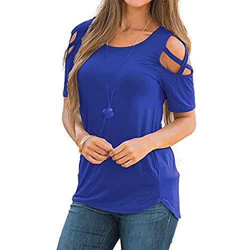 Mayntop Camiseta de verano para mujer de manga corta, con hombros descubiertos, cuello redondo, blusa, A-azul, 40