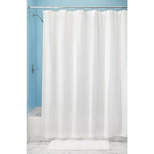 iDesign Decorative Poly Blend Duschvorhang aus Polyester und Baumwolle, Vorhang für Badewanne und Dusche in 183,0 cm x 183,0 cm, weiß