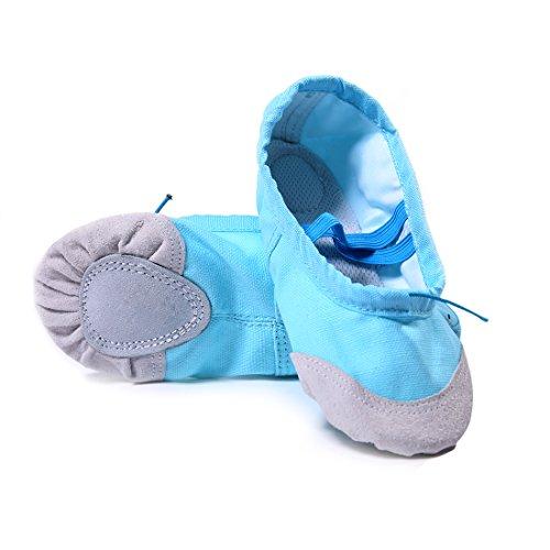DoGeek Balettskor av hög kvalitet mjuka spetsskor ballet träning släp skor för flickor/kvinnor i storlekarna 22–44 (beställ ett nummer större), - blå - 36 EU