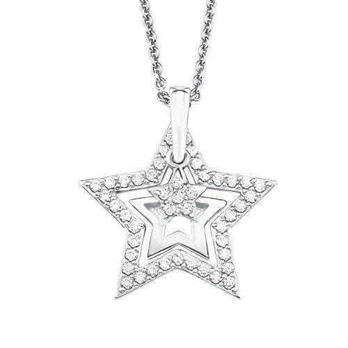 S.Oliver Damen Kette mit Sternen-Anhänger 925 Sterling Silber rhodiniert Zirkonia 42/45 cm weiß
