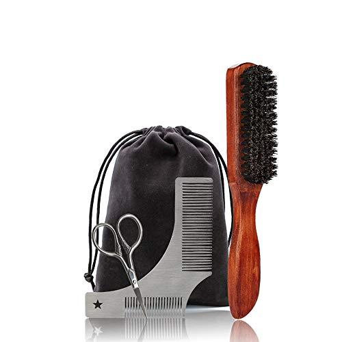 MooKe Profesional Kit de Aseo Barba Hombres, la Plantilla Barba Shaping Herramienta, máquina de Afeitar, Barba Cepillo, Peine, Tijeras Conveniente Bolsa de Mano, Papel de Regalo