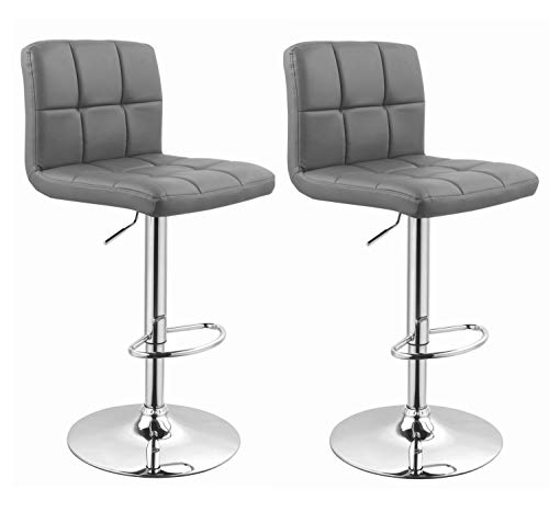 Duhome Barhocker 2X Barstuhl Kunstleder oder Stoff Tresenhocker Bar Sessel gut gepolstert höhenverstellbar mit Lehne eckig 451Y, Farbe:Grau, Material:Kunstleder