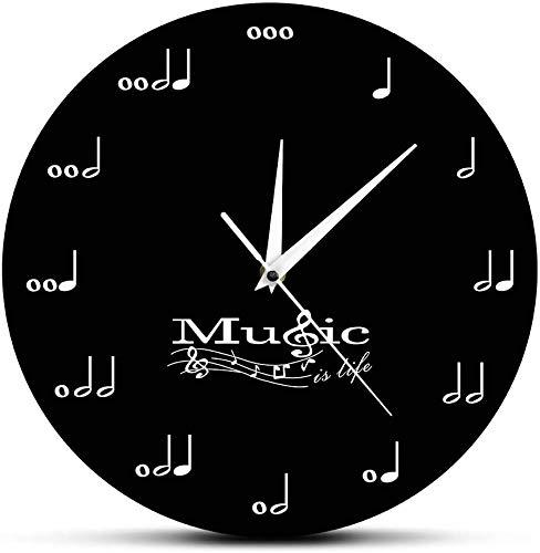 Mopoq Vintage Wanduhr 12-Zoll-Silent-Non Ticking Clock-Quarz-Uhr Musik ist Leben Inspiration Wanduhr Musik merkt Spieluhr Violinschlüssel Stave Music Studio hängende Wand beobachten Musiker