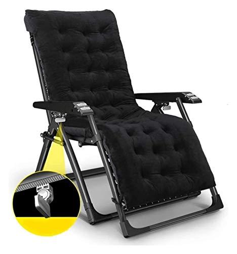 MTCWD Heavy Duty Muebles de jardín Conjuntos de sillas Tumbona jardín Que acampa Plegable de la Gravedad Cero Hamaca reclinable reclinables (Color : Black-2)