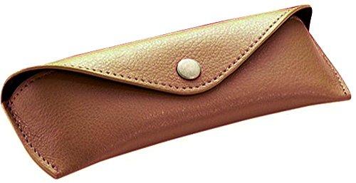 Alassio Estuche de Piel auténtica para Gafas, pequeño, Aprox. 16 x 5,5 x 3 cm, Organizador de Bolsillo, 16 cm, Color marrón