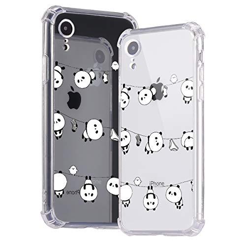 Idocolors Cover per iPhone SE 2020/7 / 8 Panda Carino Trasparente Silicone TPU Morbido Custodia con Cuscino d'Aria agli Angoli Antiurto Bumper Protettiva Case