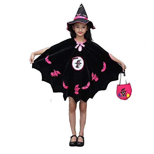 Patifia Halloween Mädchen Umhang, Kleinkind Kinder Mädchen Halloween Cosplay Kostüm, Funktionsbekleidung Fledermaus Ärmel Party Kleid mit Zauberer Hut und Kürbis-Tasche Outfits