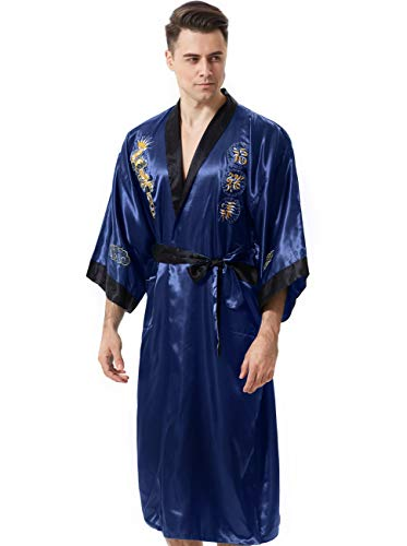 MORCOE Men's Chinese Dragon Embroidered Satin Kimono Yukata Long Robe Soft Loungewear Nightgown Pajamas with Pockets Gift (Style3 Blue(Two-Side wear))