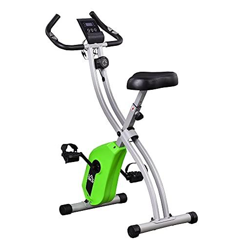 HOMCOM Bicicleta Estática Plegable con 8 Niveles de Resistencia Magnética Ajustable Volante de Inercia Sensor de Pulso Sillín Regulable y Pantalla LCD 86x47x112 cm Verde