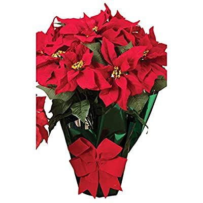 """AC 22"""" Potted Red Poinsettia Plant with 10 Flowers and Decorative Bow"""