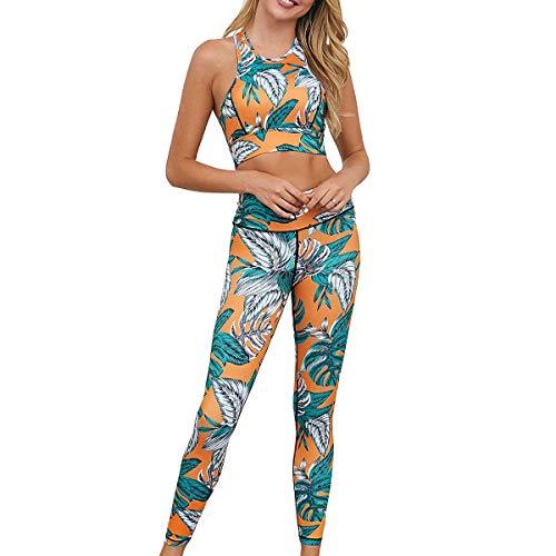 GLXQIJ 2 Juego de la Yoga de Las PC fijaron a Las Mujeres, sin Fisuras Gimnasio Polainas de compresión de Cintura Alta Pantalones de Yoga, Deporte Stretch Fit-Bra Tops,Verde,M
