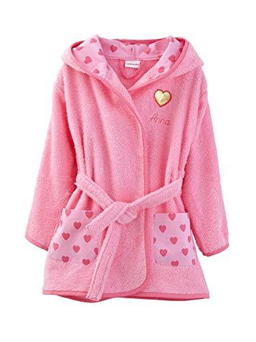 Vertbaudet Kinder Bademantel mit Kapuze rosa 116