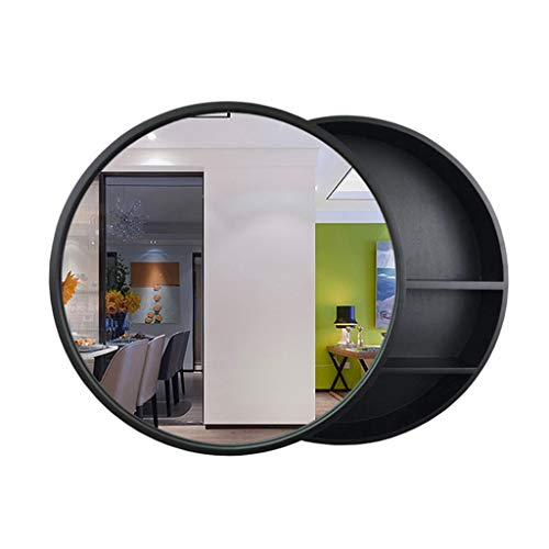 Badkamer Spiegels Spiegelkast Massief Hout Wandmontage Vanity Spiegel Hotel Spiegel Met Plank Ronde Houten Frame Spiegel Met Locker