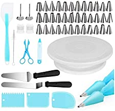 Cake Decorating Kits Supplies 73-in-1 Baking Accessories with Cake Turntable Stands, Cake Tips, Icing Smoother Spatula, Pi...