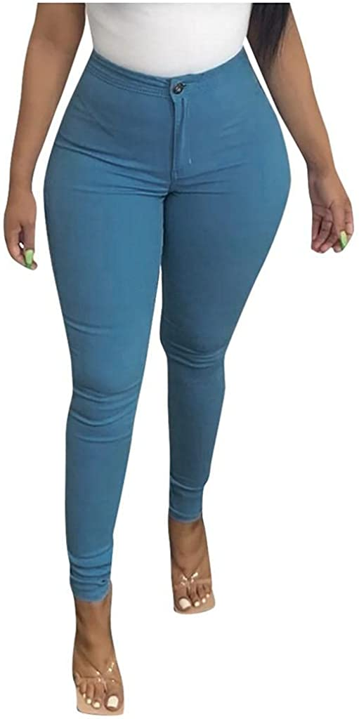 FUNEY Women's Totally Shaping Pull-on Skinny Jeggings Plus Size Hight Waisted Stretch Butt Lift Colorful Bootleg Pencil Pants