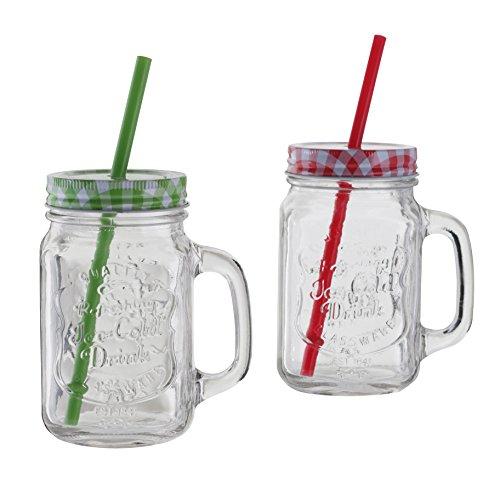 1 x Oramics Trinkglas mit Deckel und Strohhalm, Vintage Mason Jar Glas mit Deckel und Strohhalm 500ml (Farbe Grün/Rot nicht frei wählbar)
