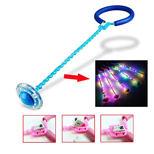 Led Light Flashing Tobillo Skip Ball Fitness Jump Rope Fat Burning Game Sports Swing Ball para Niños,Azul