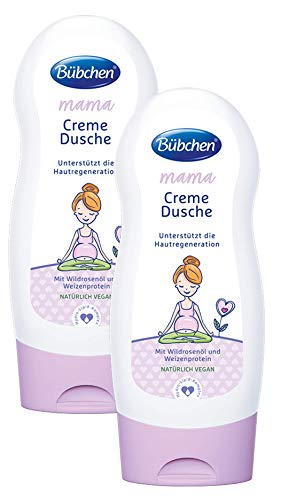 Bübchen Mama Creme Dusche, entspannende Duschcreme für anspruchsvolle Haut,  mit Wildrosenöl und Weizenprotein, Menge: 2 x 230 ml
