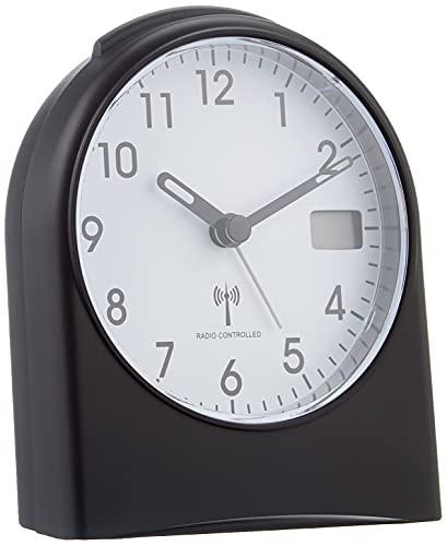 TFA Dostmann Analoger Funk-Wecker, 98.1040.01, mit digitaler Sekundenanzeige, Funkuhr, mit Hintergrundbeleuchtung, schwarz/weiß, Kunststoff, Schwarzweiß, L105 x B64 x H152 mm,L 96 x B 55 x H 116 mm