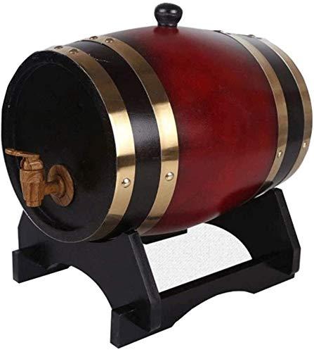 YAOSHUYANG Barril de Madera, Barril de Vino de Barril de Roble, dispensador de Vino de Madera Especial, Cerveza de Almacenamiento Whisky Whiskey Cocktail Rum 5L (Color : Liqueur Red)