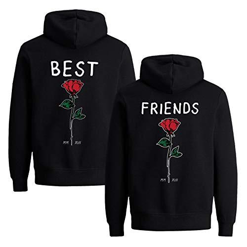 Beste Freunde Damen Hoodie für 2 BFF Best Friends Rose (Schwarz-1, M + M)