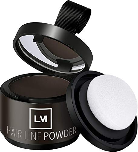 LEON MIGUEL Hair Line Powder - Ansatzpuder/Concealer | Haarverdichtung und Make-up zum Ansatz kaschieren | Wasserfest (Dunkelbraun)