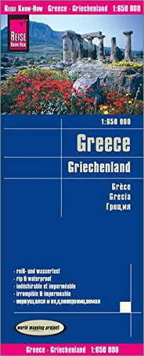 Grecia, mapa impermeable de carreteras. Escala 1:650.000 impermeable. Reise Know-How.: Kartenbild 2seitig, klassifiziertes Straßennetz, Ortsindex, GPS-tauglich