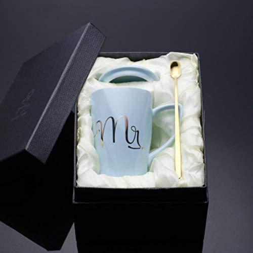 Taza De Café, Copa De Champán, Taza Caja De Regalo De Cerámica Para Taza De Leche De Café Mr And Mrs Tea Con Tapa Y Cuchara, Regalo De Aniversario De Boda, Caja De Regalo D, 350 Ml