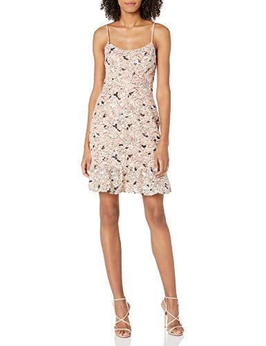 Dress the Population Women's Jill Sleeveless Novelty Mini Dress, Blush Multi, S (Apparel)
