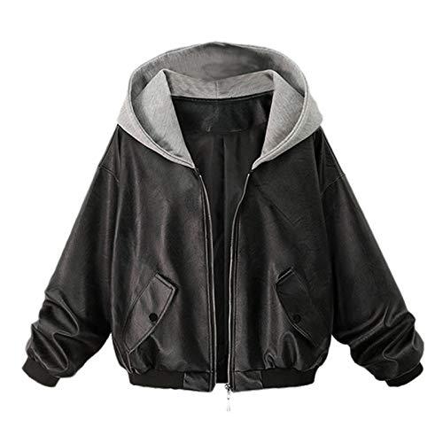 Katenyl Chaquetas de cuero de imitación para mujer Costuras de moda Ropa de calle con capucha relajada Ropa de abrigo de talla grande con cremallera Europa y América