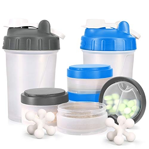 Promotion 16 OZ Protein Shaker Bottle with Mixer Ball and 2 Interlocking Storage Jars for Pills Snacks Coffee Tea 100% BPA FreeNon Toxic and Leak Proof Sports Bottle Blue  Grey