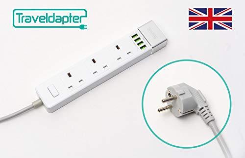 3 Way Gang Triple Socket Power Secteur Extension Lead 10 M Mètres Câble 13 A NOIR