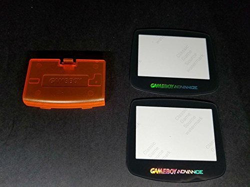 ClassicGameSource Klare orange Batterieabdeckung Logo + 2 Glas Holo-Bildschirm für Game Boy Advance