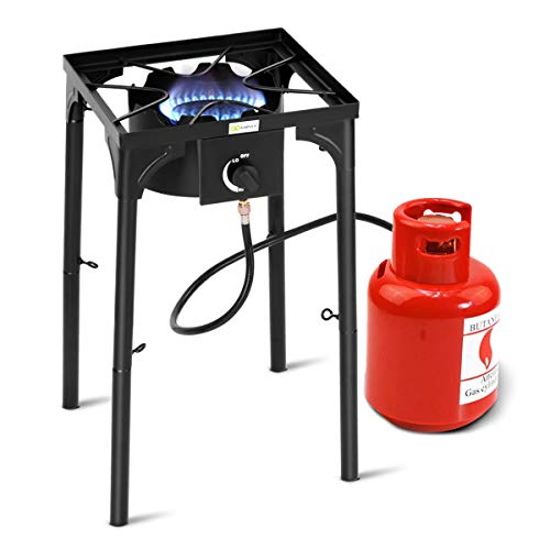 Goplus Outdoor Camp Stove High Pressure Propane Gas Cooker Portable Cast Iron Patio Cooking Burner w/Detachable Legs Great for Camping, Patio, or RV (Single-Burner 100,000-BTU)