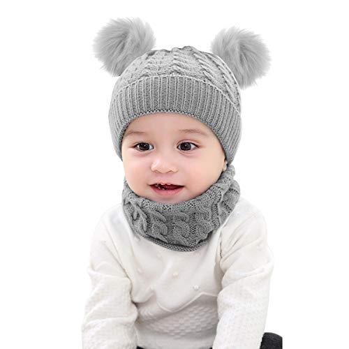 Borlai - Set Di 2 Cappelli Invernali Lavorati A Maglia Con Pompon E Fazzoletto Da Collo, Per Bambini Da 1 A 6 Anni Grigio Grigio