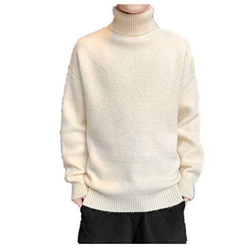 Hombres suéter de cuello alto suelto suéter de punto otoño e invierno de felpa gruesa suéter de la capa inferior