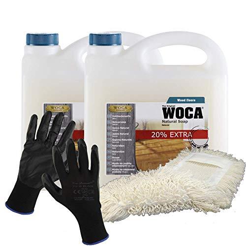 Preisvergleich Produktbild Woca Holzbodenseife Natur 2x3 Liter Aktion - 6 Liter Holzbodenseife inkl. Wischmopp
