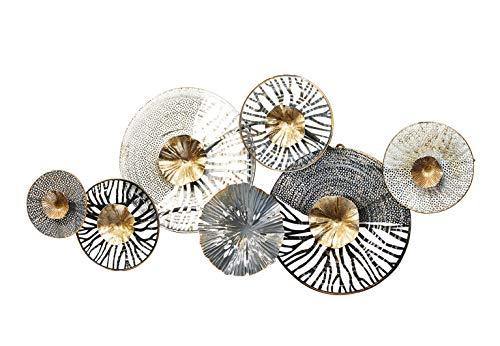 Kobolo Wandbild Metallbild 3D-Bild - Roots - Metall - anthrazit Silber Gold - ca 105x50 cm
