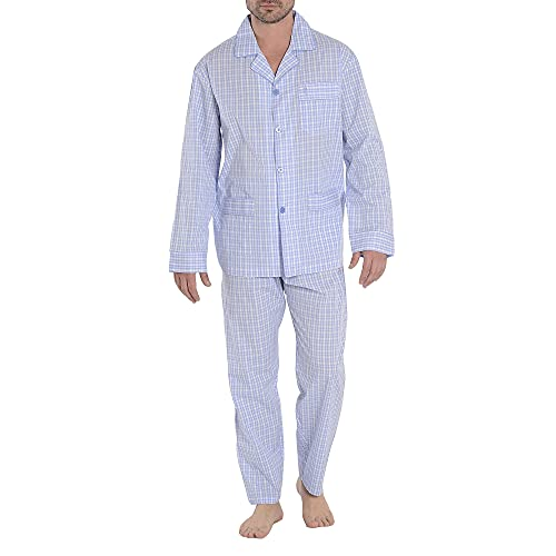 El Búho Nocturno - Pijama Hombre Largo Solapa Popelín Cuadros Celeste 60% algodón 40% poliéster Talla 6 (XXL)