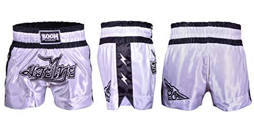 KIKFIT Pantaloncini da boxe, da uomo, MMA, da combattimento, Muay Thai arti marziali, abbigliamento kickboxing, cross training, gabbia da combattimento bianco/nero Small