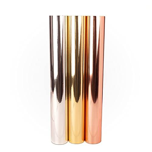 D005 - Láminas adhesivas para plóter DIN A4, color dorado, plateado y oro rosa, cromo metalizado, lámina de poliéster de vinilo, autoadhesivas, decoración de bodas (cromo plateado, 3 x DIN A4)