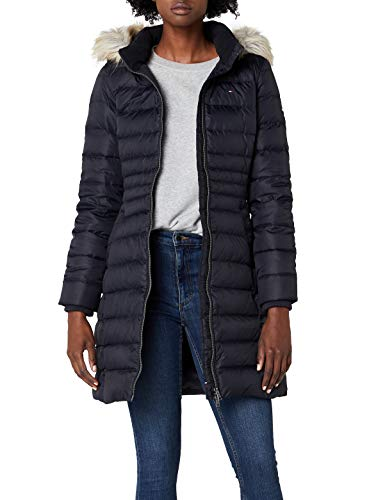 Tommy Jeans Damen Essential Down Langarm Daunenjacke Jacke Schwarz (Black Beauty 003/Dark Blue) Small
